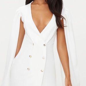 White blazer dress with cape